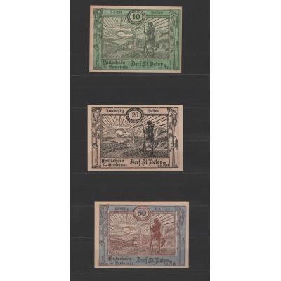 Rakousko - sada 3 nouzových bankovek 1920, St. Peter