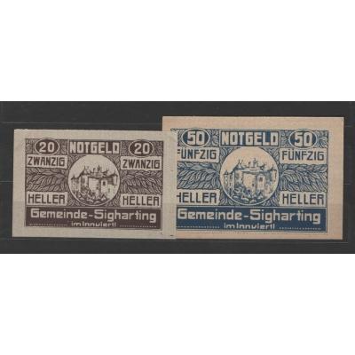 Rakousko - sada 2 nouzových bankovek 1920, Sigharting