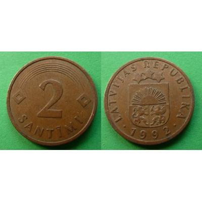 Lotyšsko - 2 Santimi 1992