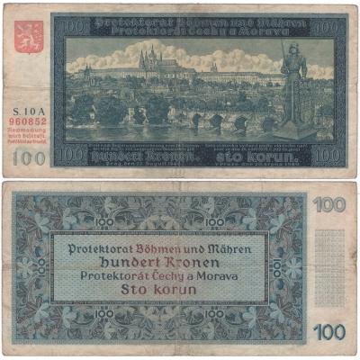 100 korun 1940, neperforovaná, I. vydání, série A