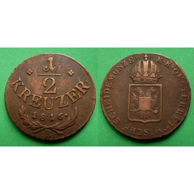 František I. - mince 1/2 krejcar 1816 B
