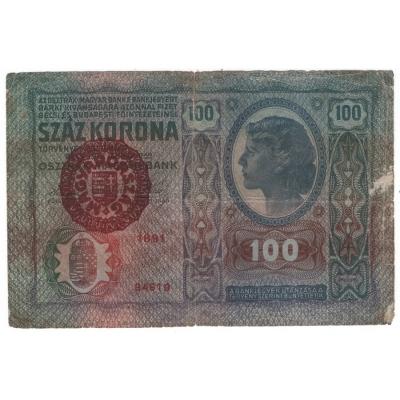 100 korun 1912 přetisk MAGYARORSZÁG