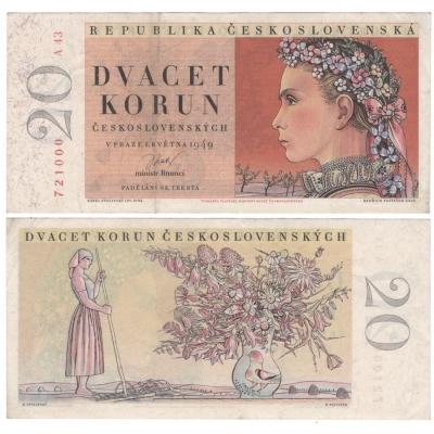 20 korun 1949, neperforovaná, série A