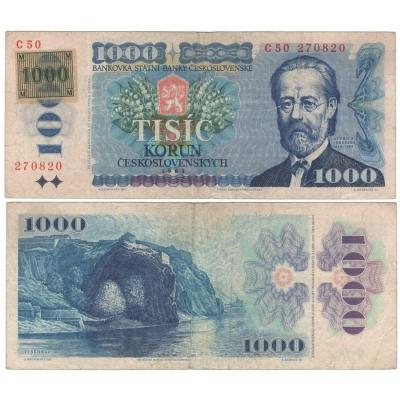 1000 korun 1985, série C, lepený kolek