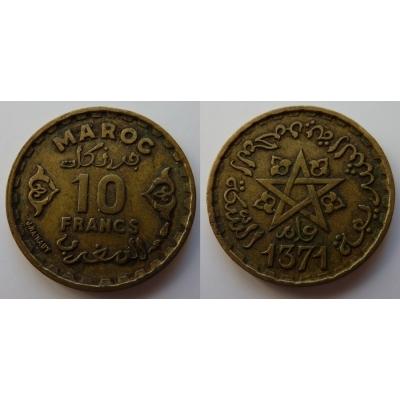 Maroko - 10 francs 1951, Mohammed V., AH 1371