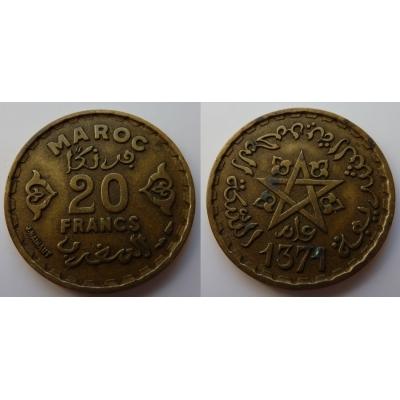 Maroko - 20 francs 1951, Mohammed V., AH 1371