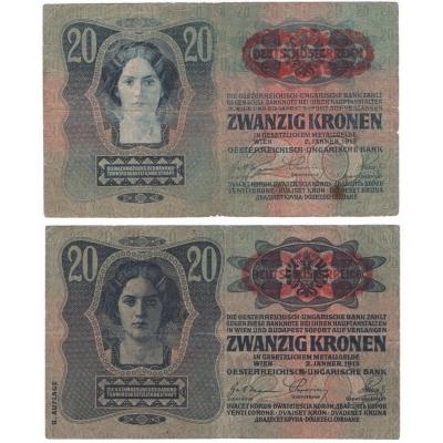 20 korun 1913 - vzácný přetisk přes znak, obě vydání