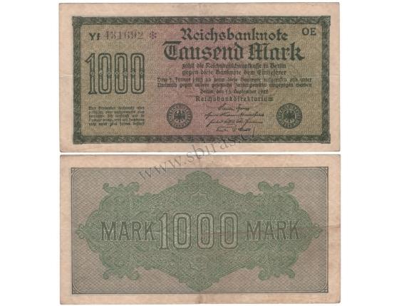 Německo - bankovka Reichsbanknote 1000 Marek 1923