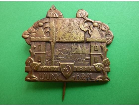 LOUNY - 46. P. PL. (pěší pluk) 11.-14.6.1926, odznak jehla