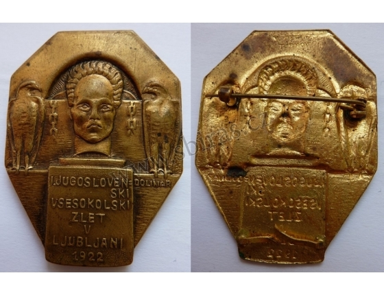 Sokol - 1 jihoslovanský slet, Lublaň 1922, odznak přípínací