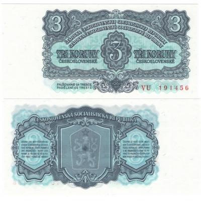 3 koruny 1961 UNC, série VU