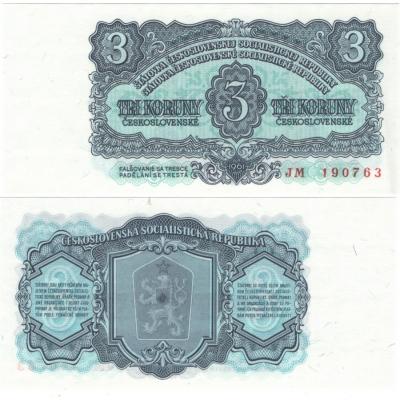 3 koruny 1961 UNC, série JM