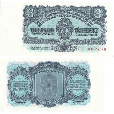 3 koruny 1961 UNC, série JT