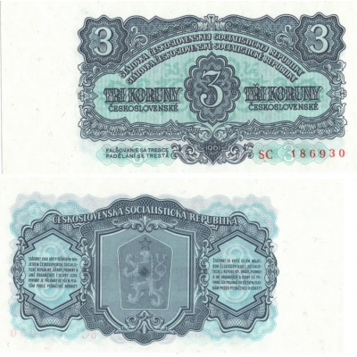 3 koruny 1961 UNC, série SC