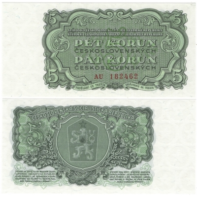 5 korun 1961 UNC, série AU