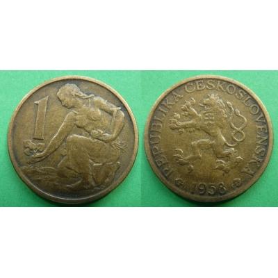 Tschechoslowakei - Münze 1 Krone 1958