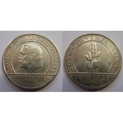 Výmarská republika - 3 marky 1929 Přísaha, Hindenburg