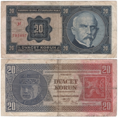 20 korun 1926 neperforovaná, série Jf