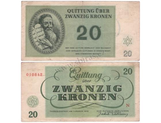 Terezínské gheto - 20 korun 1943