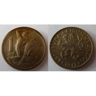 Československo - mince 1 koruna 1947