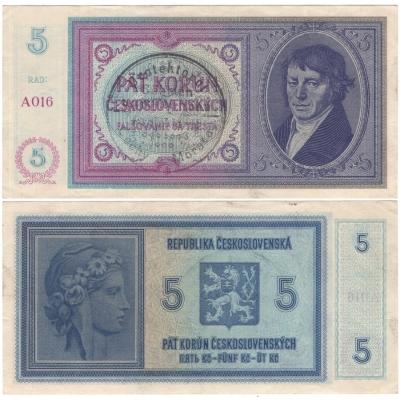 5 korun 1938 - ruční přetisk, neperforovaná série A