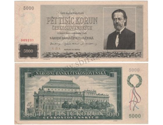 5000 korun 1945 neperforovaná