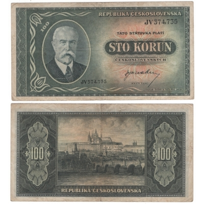 Czechoslovakia - 100 crowns banknote 1945 T.G. Masaryk
