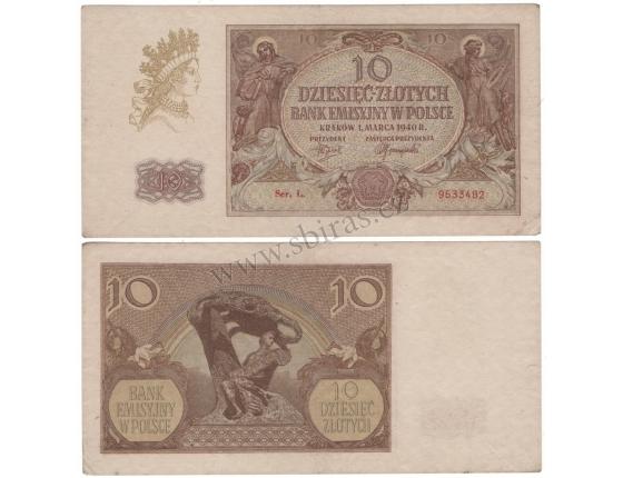 Polsko - bankovka 10 zlotych 1940