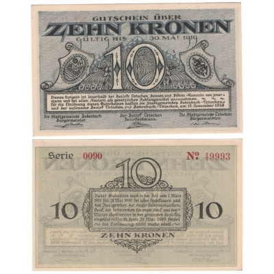 Československo - 10 korun 15.11.1918, Bodenbach - Podmokly UNC