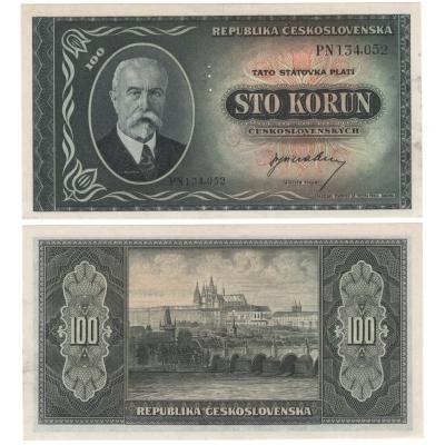 100 korun 1945, T.G. Masaryk, UNC