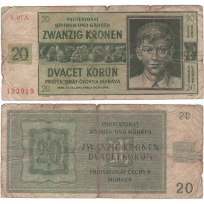 20 korun 1944, neperforovaná, série A
