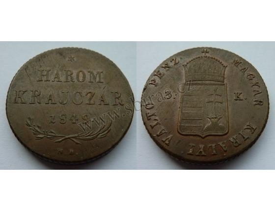 3 Krejcary (Harom krajczár) 1849 N.B.