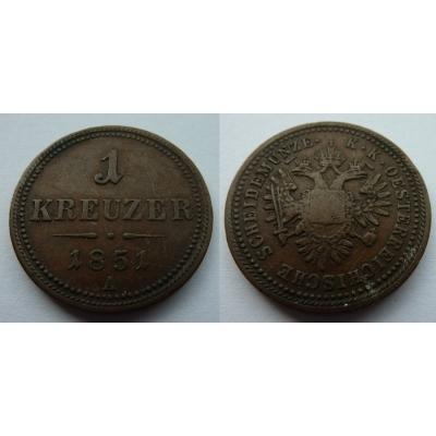 František Josef I. - mince 1 krejcar 1851 A