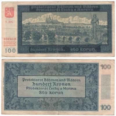 100 korun 1940, neperforovaná, II. vydání, série G