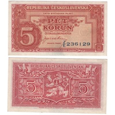 5 korun 1945, neperforovaná, vertikální série, Londýnská emise