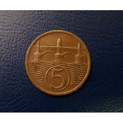 Československo - mince 5 haléřů 1932