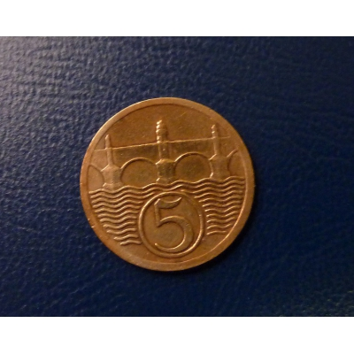 Československo - mince 5 haléřů 1927