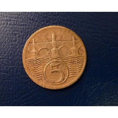 Československo - mince 5 haléřů 1929