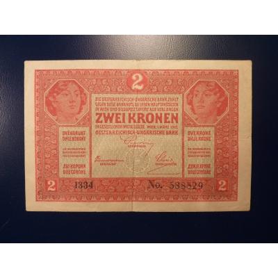2 koruny 1917, série 1334, bez přetisku