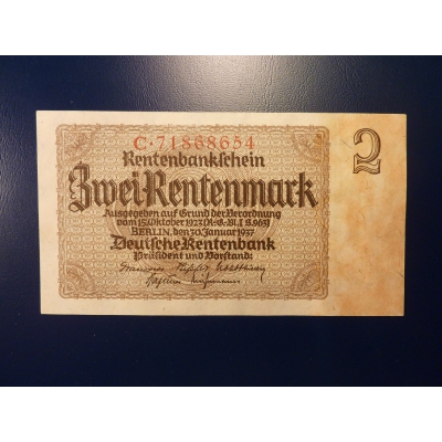 Německo - bankovka 2 Rentenmark 1937 (UNC)