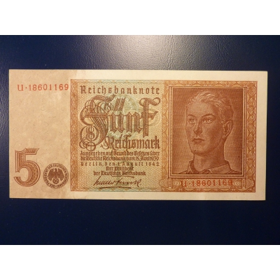 Německo - bankovka 5 Rentenmark 1942 UNC