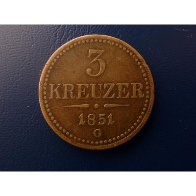 3 krejcary 1851