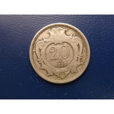 20 haléřů 1893
