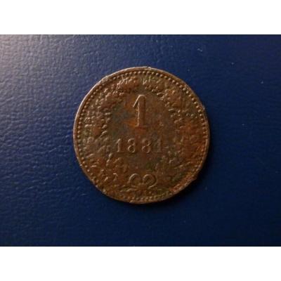 1 krejcar 1881