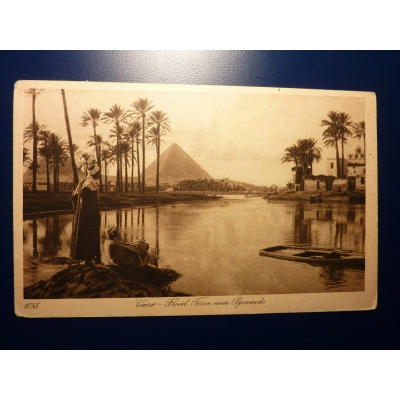 Afrika - pohlednice, Egypt, Káhira - Flood Time near Pyramids