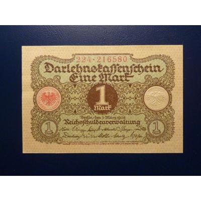 Německo - bankovka Darlehnskassenschein 1 Mark 1920 (UNC)