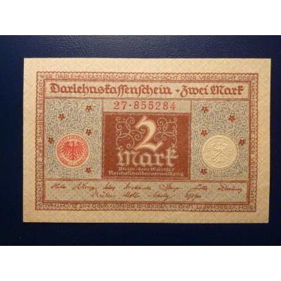 Německo - bankovka Darlehnskassenschein 2 Mark 1920 UNC