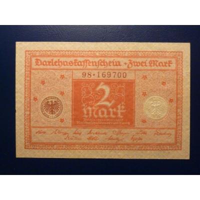 Německo - bankovka Darlehnskassenschein 2 Mark 1920 (UNC)