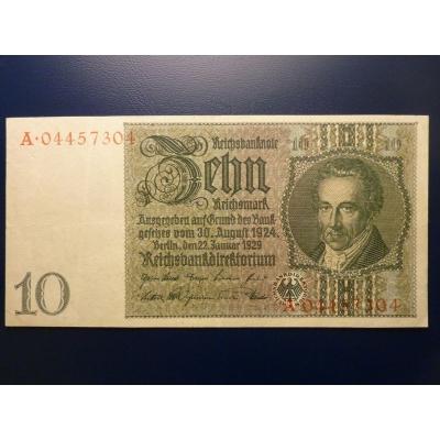 Německo - bankovka Reichsbanknote 10 Marek 1929, série A