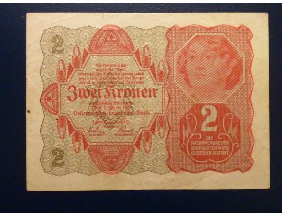 Rakousko - bankovka 2 koruny 1922
